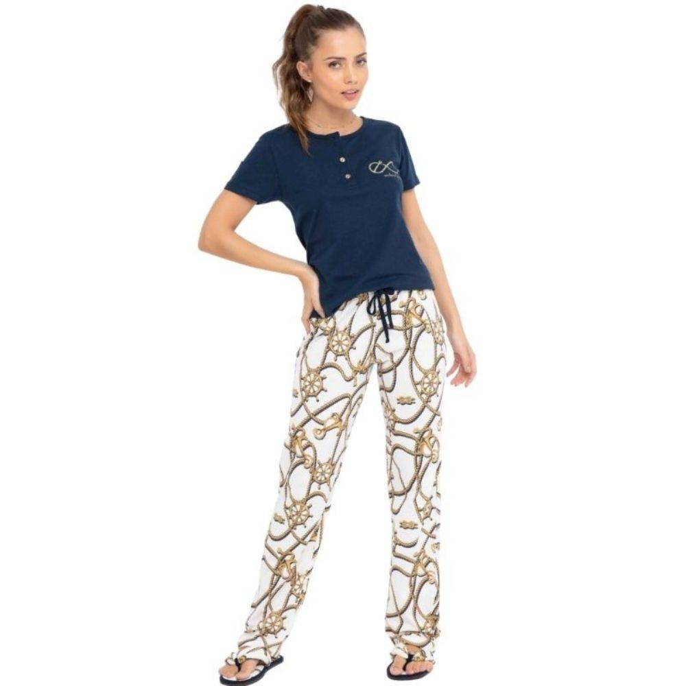 Pijama de Calça e Manga Curta Tamanho P