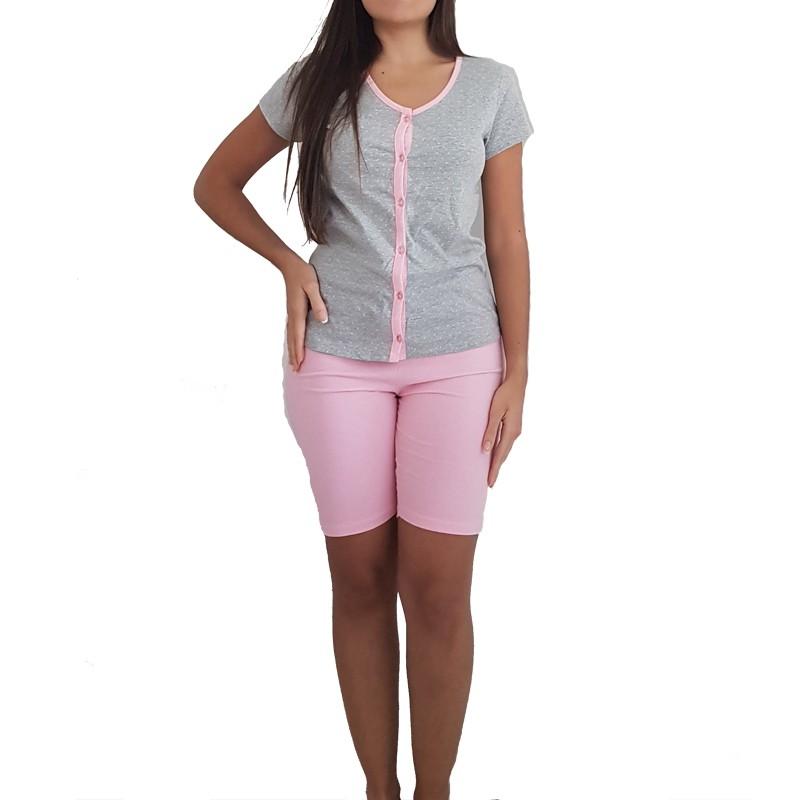 Pijama Feminino Aberto com Botões e Bermuda Tamanho P