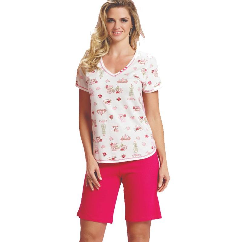 Pijama Feminino Com Bermuda e Camiseta Plus Size Tamanho 52