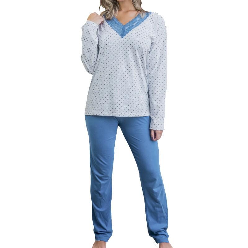 Pijama Feminino de Inverno de Algodão Tamanho XG