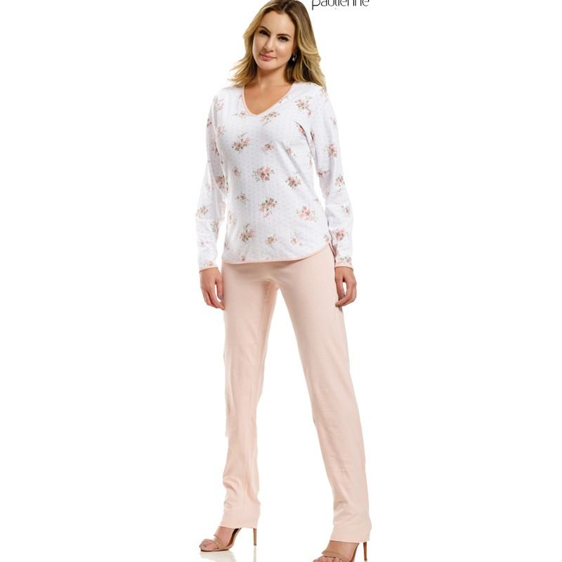 Pijama Feminino de Inverno Plus Size de Algodão