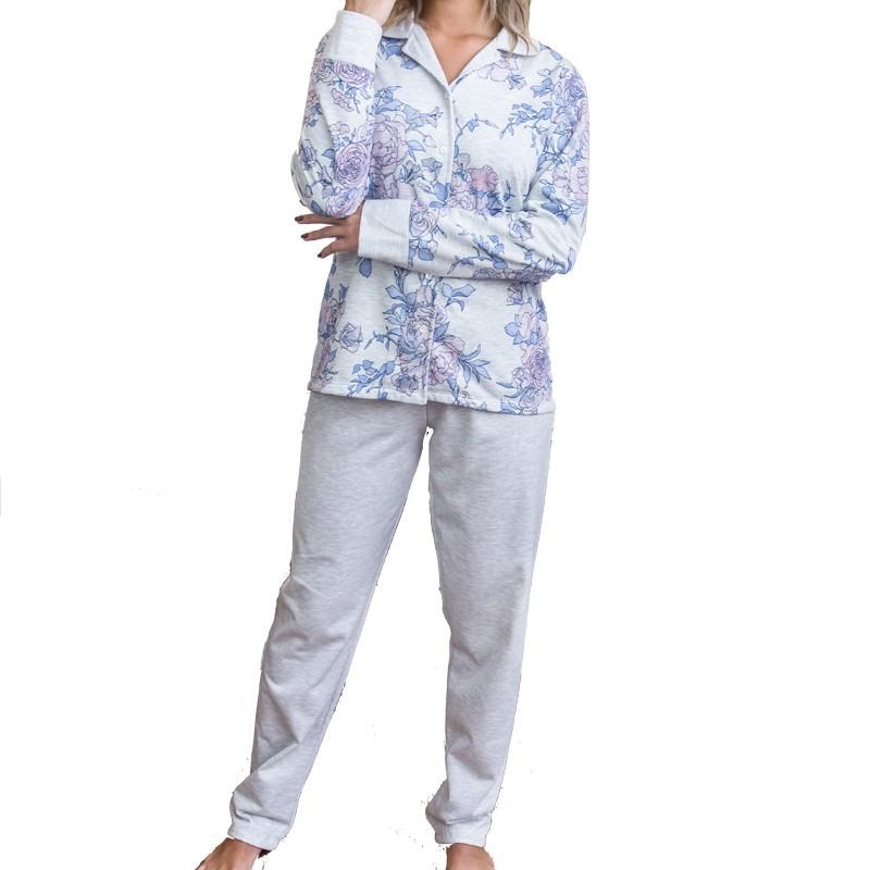 Pijama Feminino Inverno Aberto com Botões de Moletinho