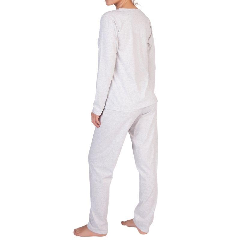 Pijama Feminino Inverno Algodão Com Botões e Renda