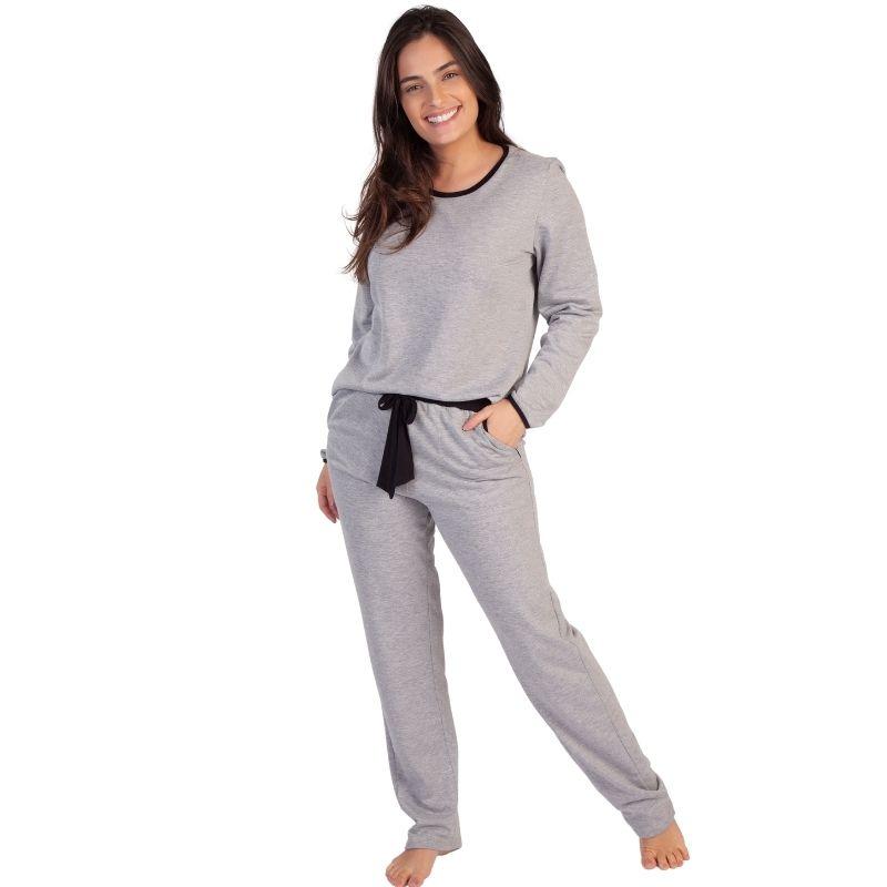 Pijama Feminino Inverno Moletinho Com Bolso