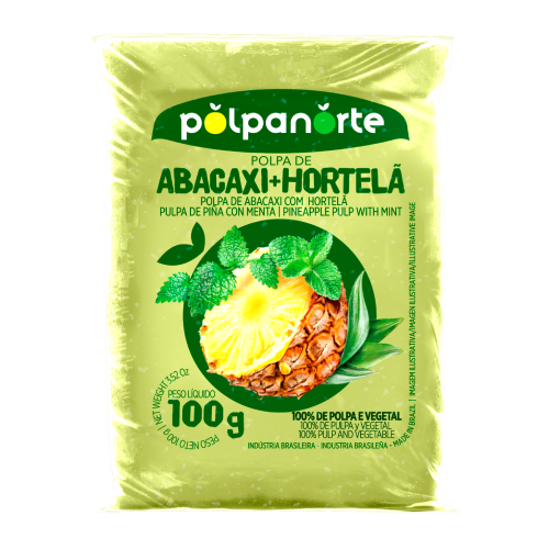 Polpa De Fruta Sabor Abacaxi Com Hortelã 100G Polpanorte