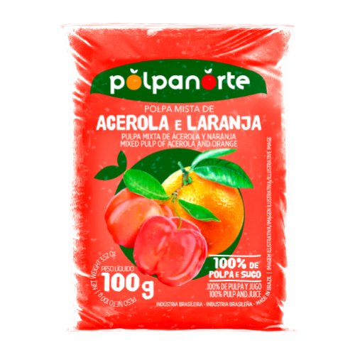 Polpa De Fruta Sabor Acerola Com Laranja 100G Polpanorte
