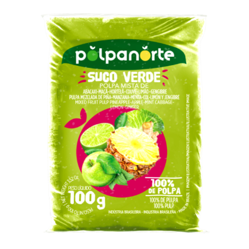 Polpa De Fruta Sabor Suco Verde 100G Polpanorte