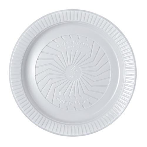 Prato Descartável Raso 21Cm Ps Branco 10 Unidades Cristalcopo