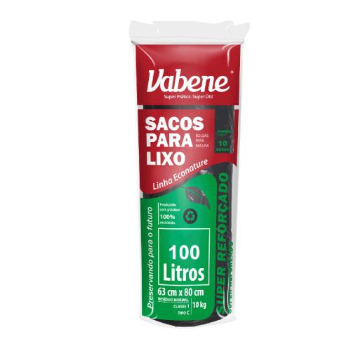 Saco De Lixo Super Reforçado 100 Litros 10 Sacos Vabene