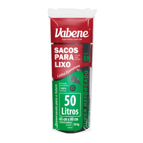 Saco De Lixo Super Reforçado 50 Litros 15 Sacos Vabene