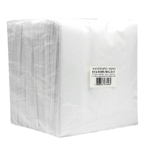 Saco De Papel Hamburgão Branco 18x12Cm 500 Unidades