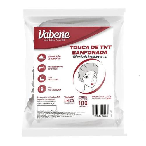 Touca De TNT Sanfonada Tamanho Único 100 Unidades Vabene