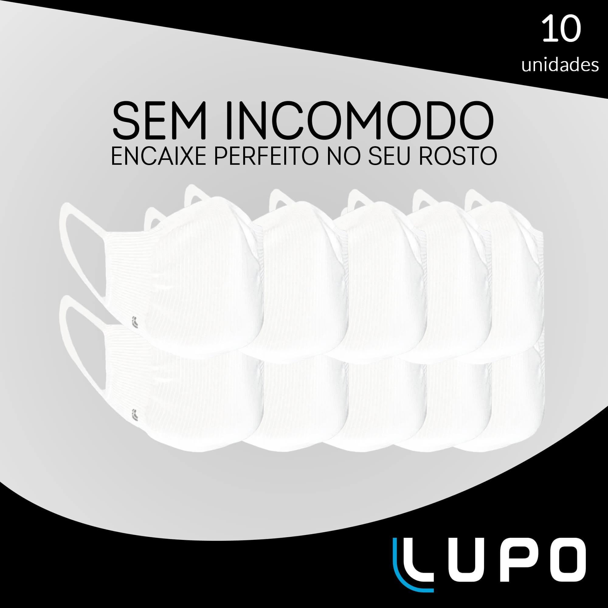 KIT 10 MASCARA LUPO BAC-OFF ANTIVIRAL SEM COSTURA UNISSEX