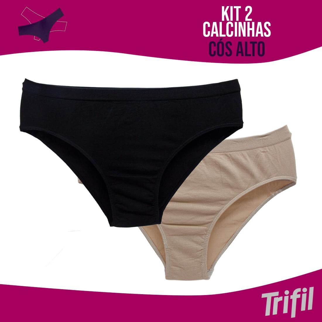 KIT 2 CALCINHAS CÓS ALTO TRIFIL