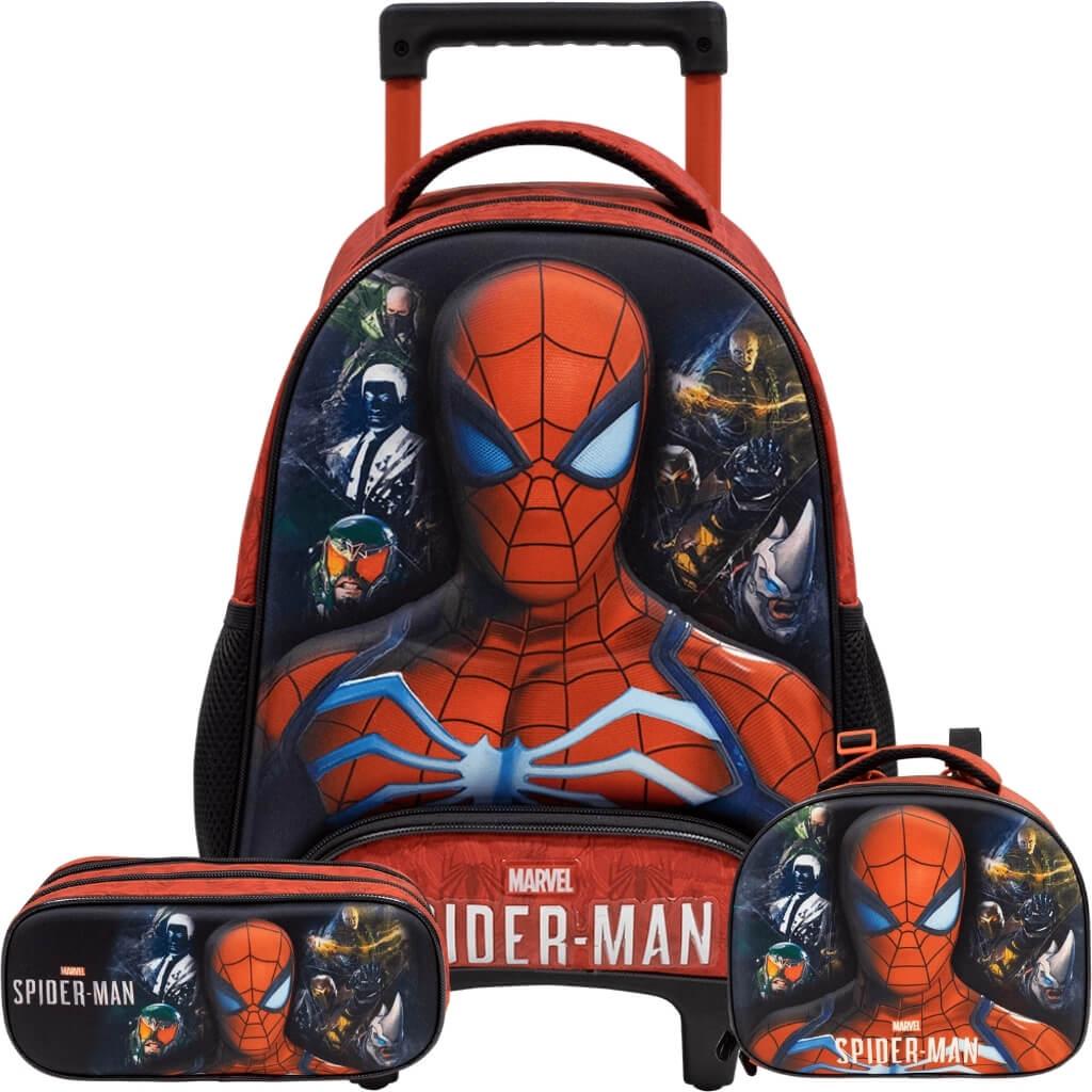 Kit Mochila Infantil Com Rodas Alto Relevo Spider Man Xeryus