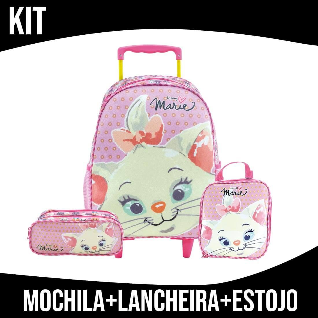 Kit Mochila Infantil Com Rodinha Marie Cuteness Xeryus