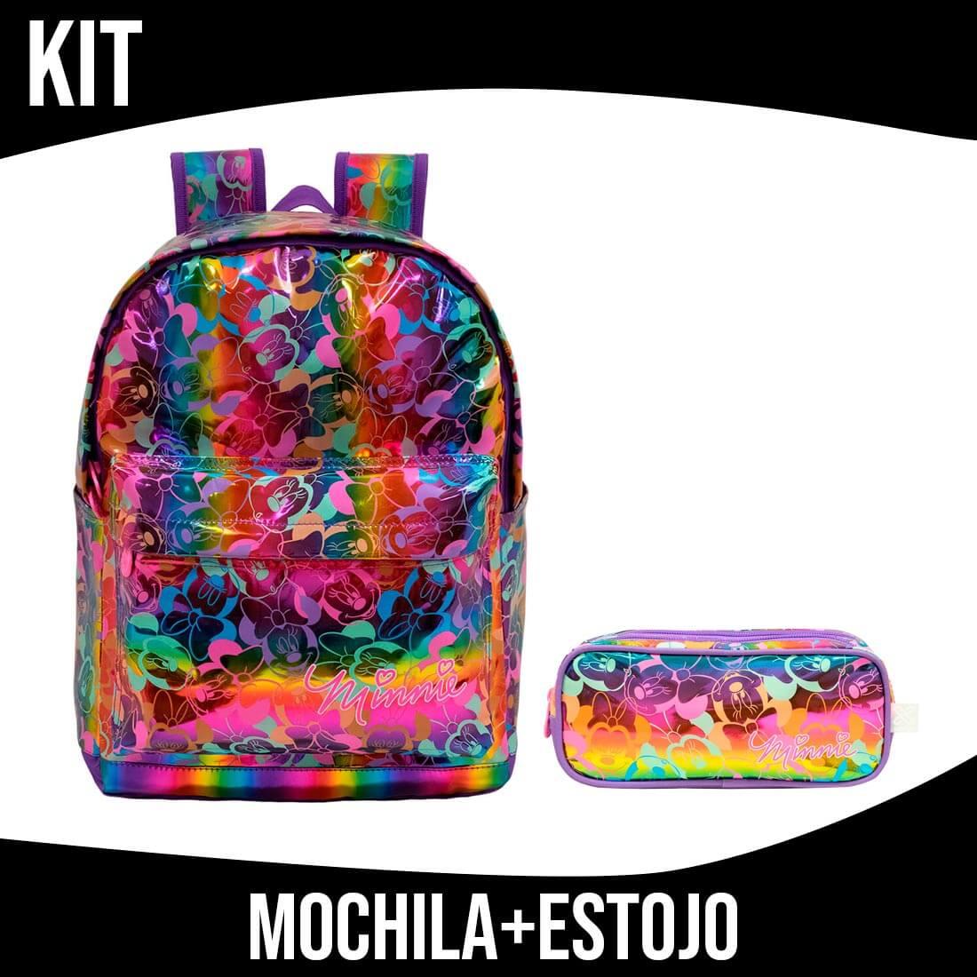 Kit Mochila Infantil Minnie Hologáfica Com Estojo Xeryus