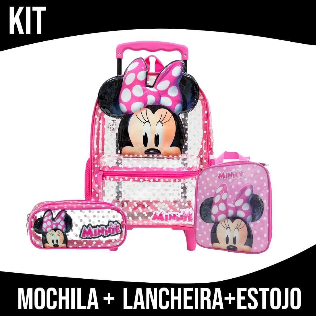 Kit Mochila Infantil Transparente Com Rodinha Minnie Xeryus
