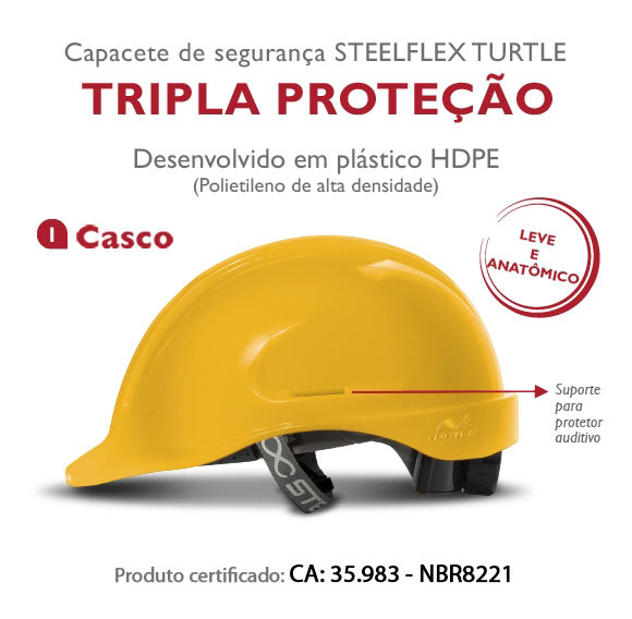 CAPACETE DE SEGURANÇA TURTLE - ABA FRONTAL - CLASSE B - TIPO II -  VERMELHO
