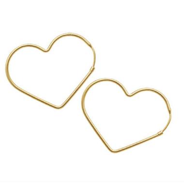 Argola Coração Banhada a Ouro 18k