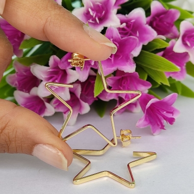 Argola Estrela Banhado a Ouro18K