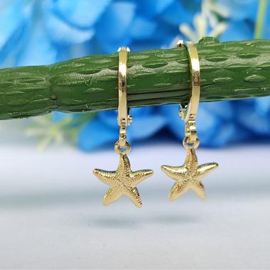 Argolinha Estrela do Mar Pequena Banhado a Ouro 18K