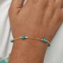 Pulseira Miçanga Azul Banhado a Ouro 18K