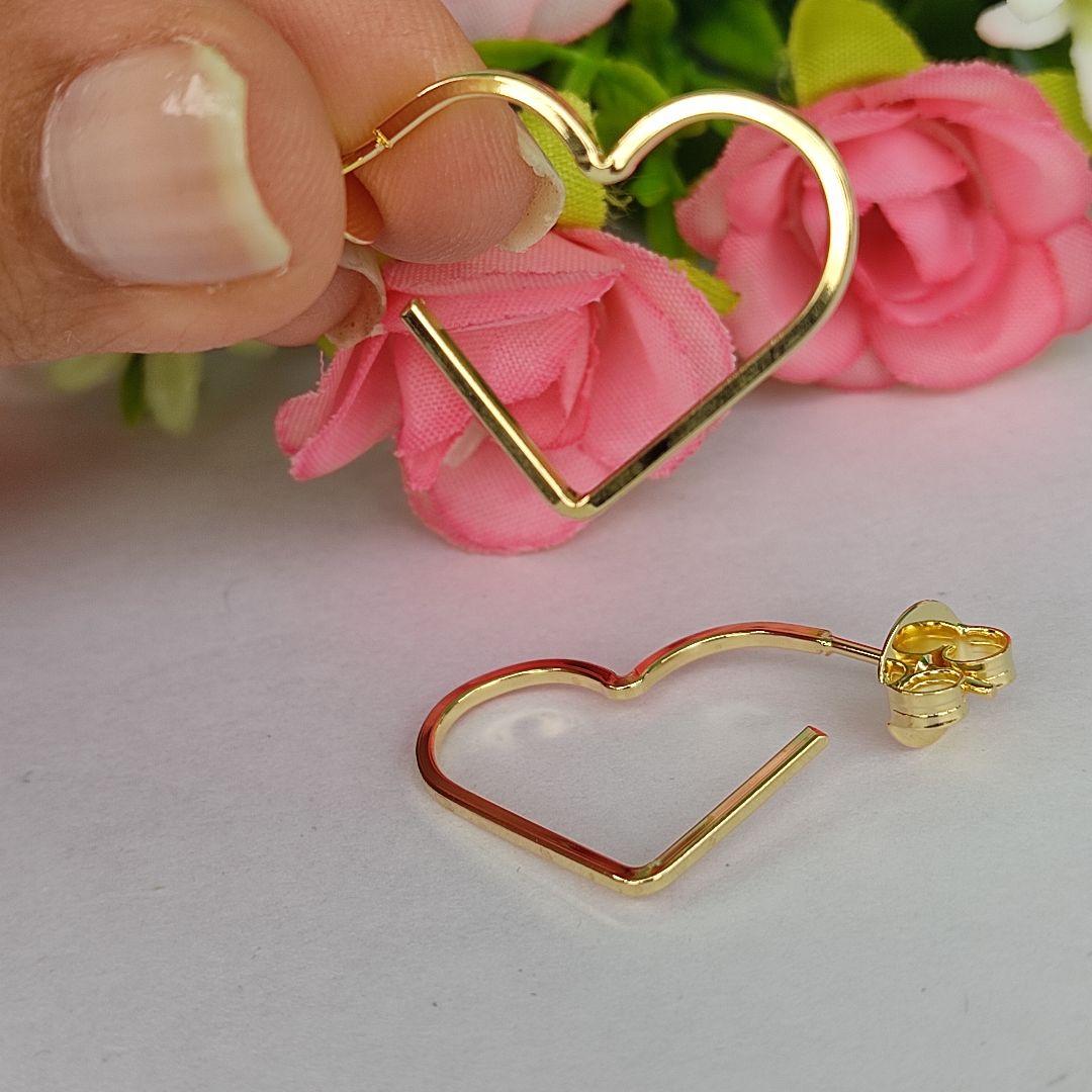 Argola Coração Banhado a Ouro18K