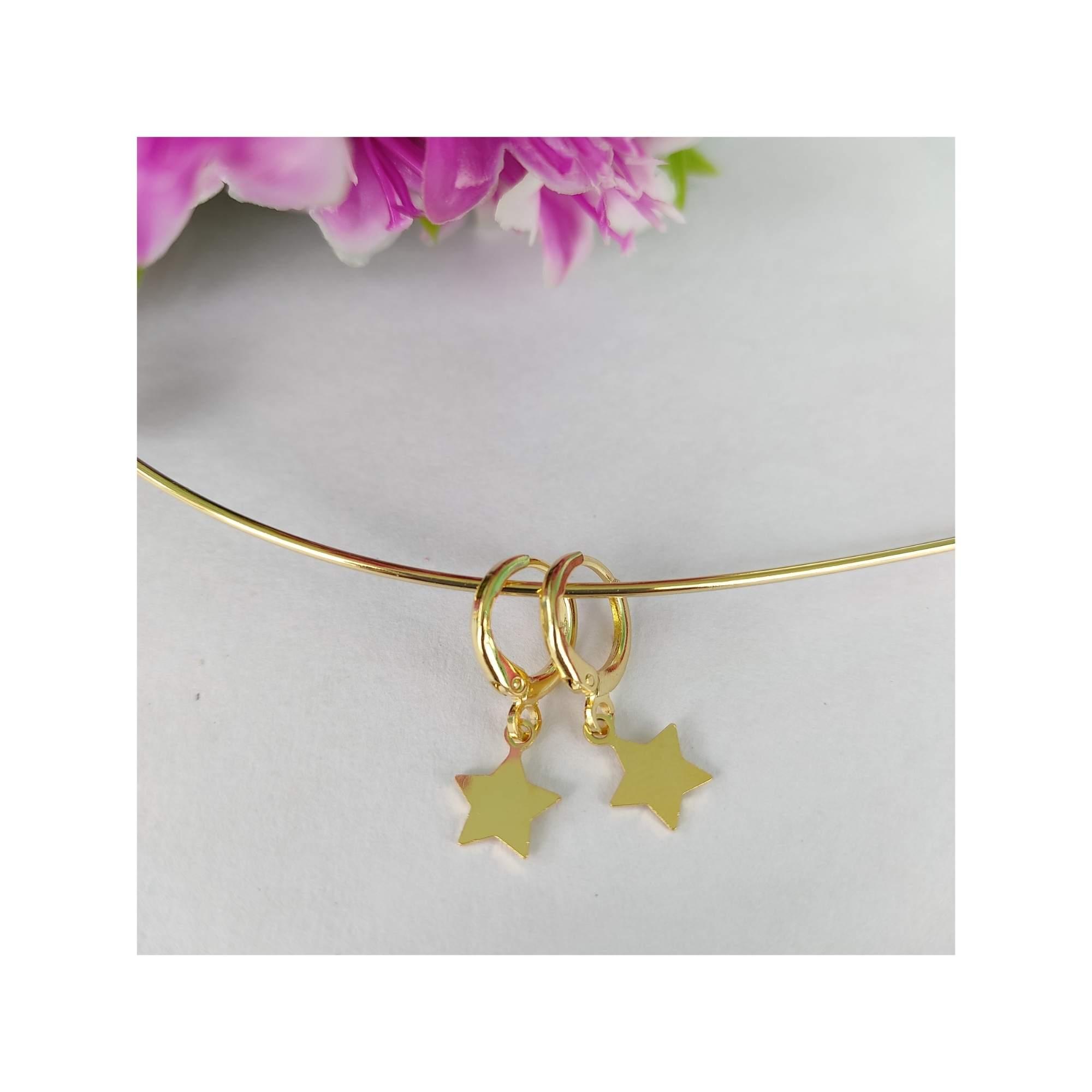 Argolinha Estrela Banhado a Ouro 18K