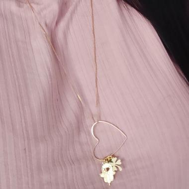 Colar Amuleto Coração Longo Banhado a ouro 18K