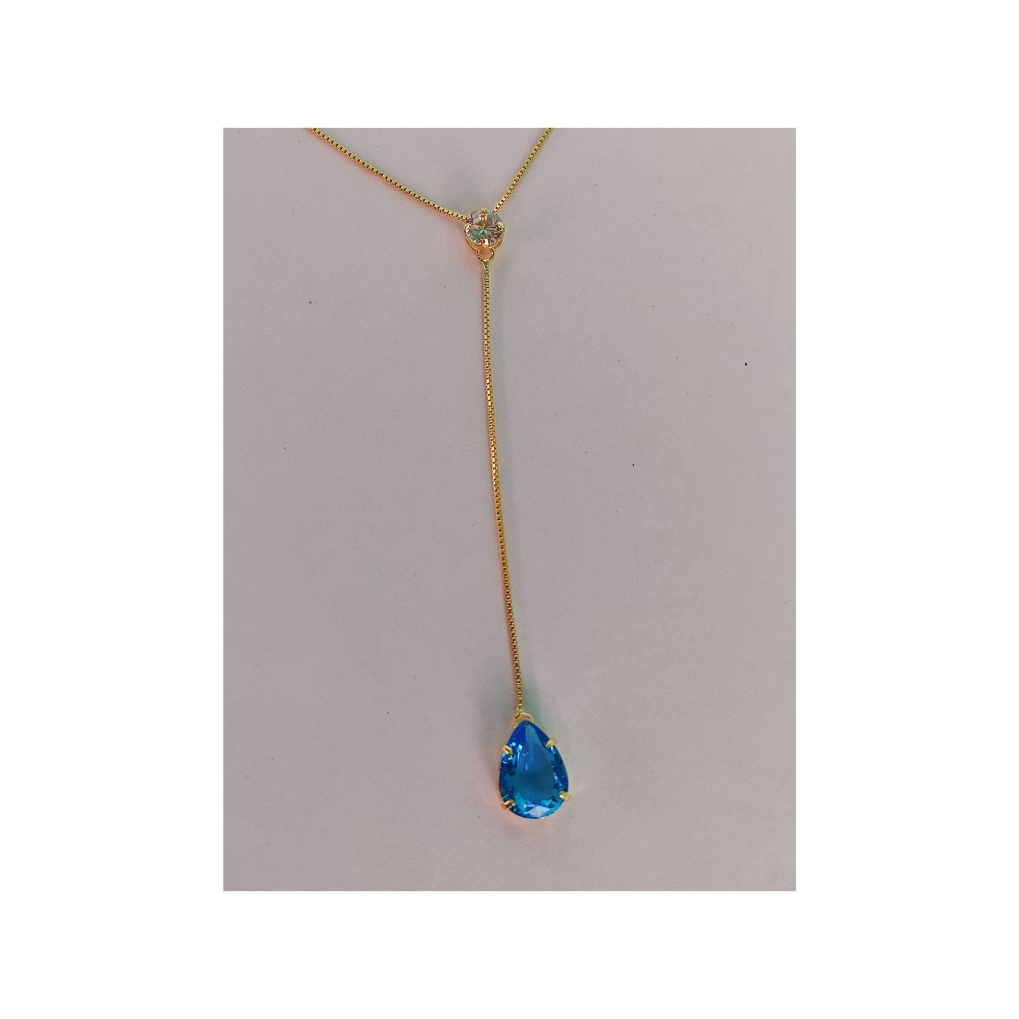 Conjunto Ana Gravata com Ponto de Luz e zircônia azul Banhada a Ouro 18K