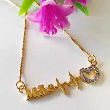 Colar Mãe Batimentos coração em zircônia Banhado em Ouro 18k