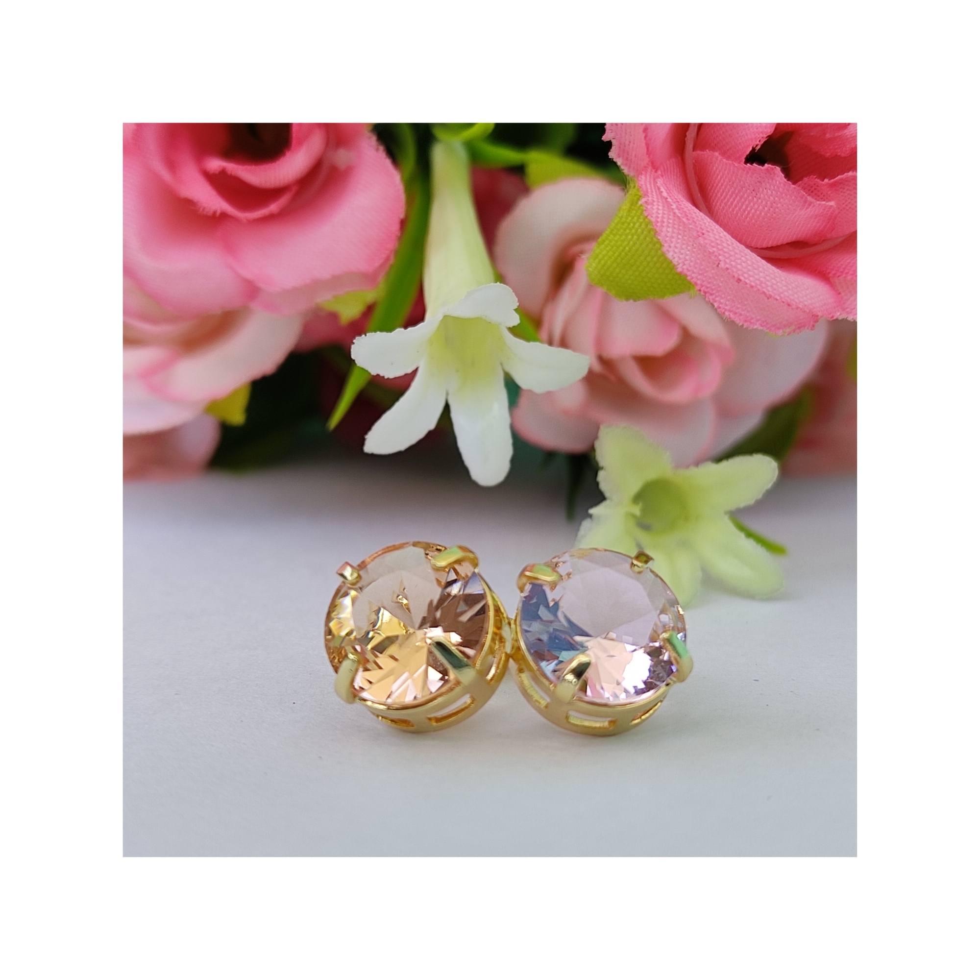 Conjunto Nina Pedra de zircônia Rosa Banhado a ouro 18K