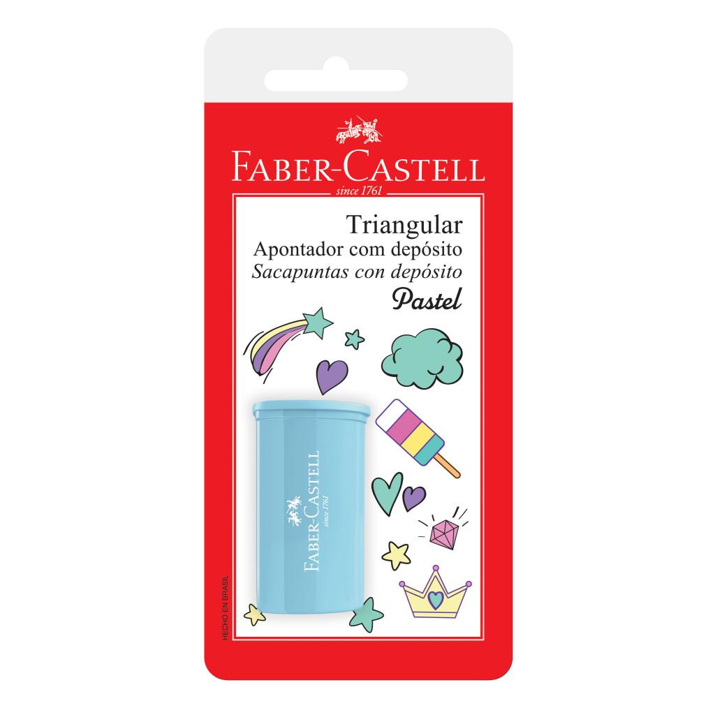 Apontador com Depósito Faber-Castell Triangular Tons Pastel