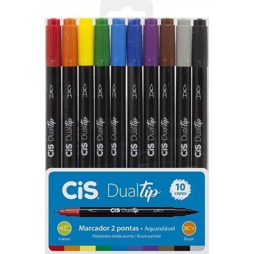 Caneta Marcador Artístico Dual Tip Duas Pontas - 10 Cores - Cis