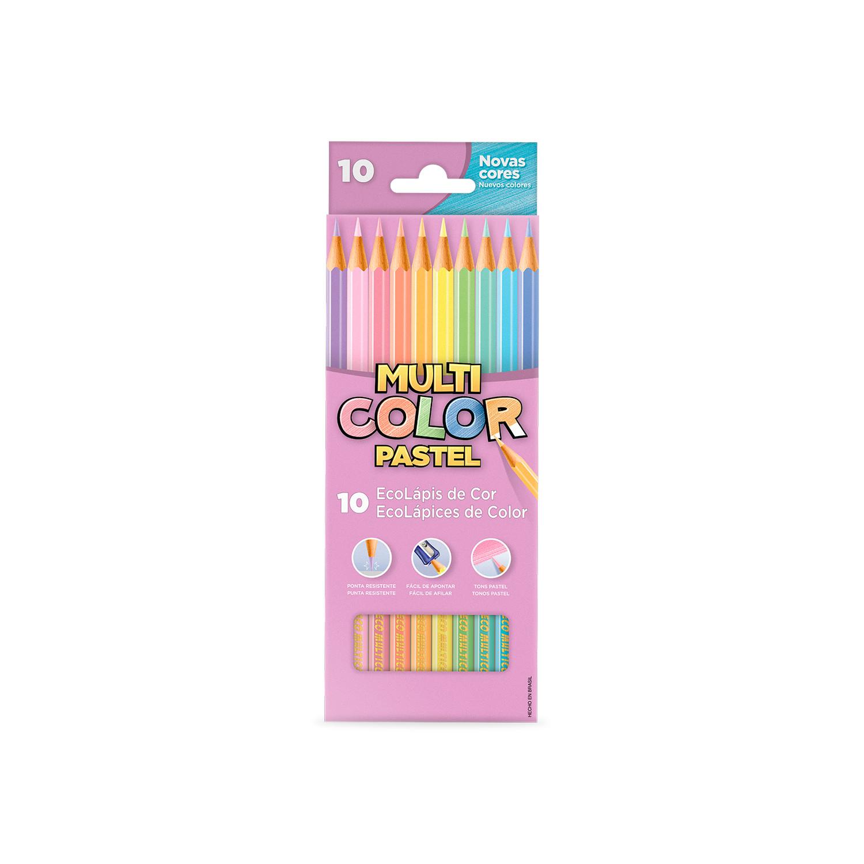 EcoLápis de Cor Multicolor 10 Cores em Tons Pastel