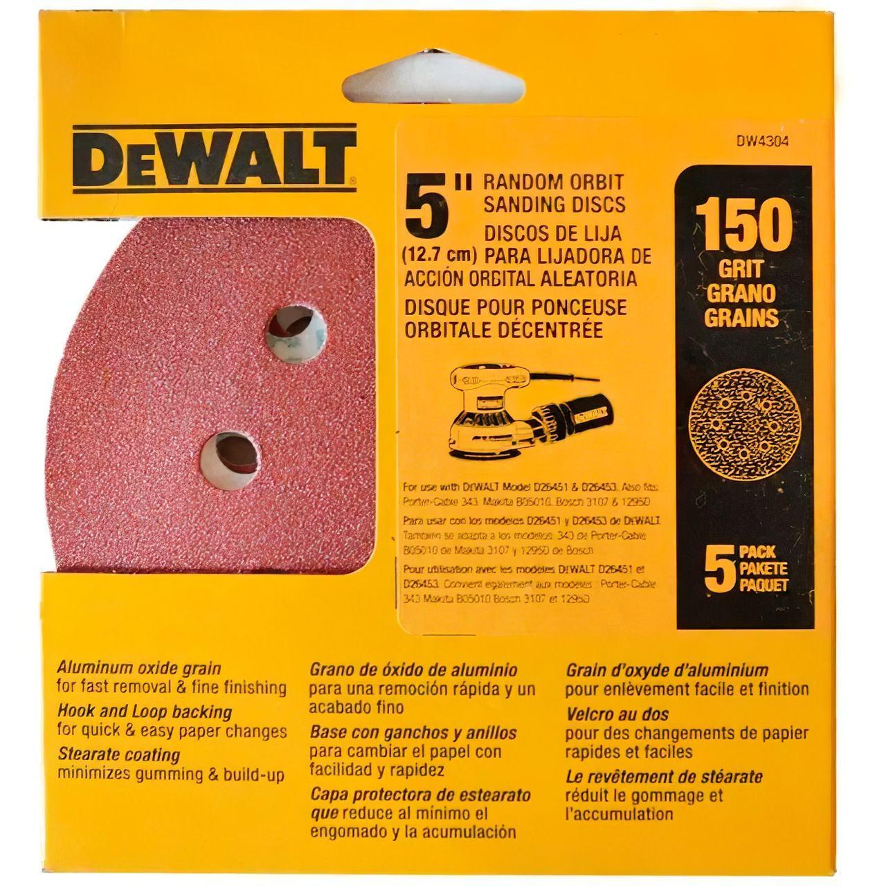 """5 disco de lixa 5"""" grao 150 8 furos Dewalt Dw4304"""
