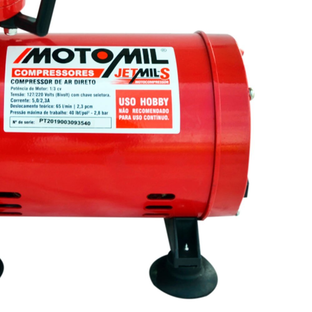 "Compressor de ar direto 2,3pés Jet mil-s 1/3""HP motomil 38411.2"