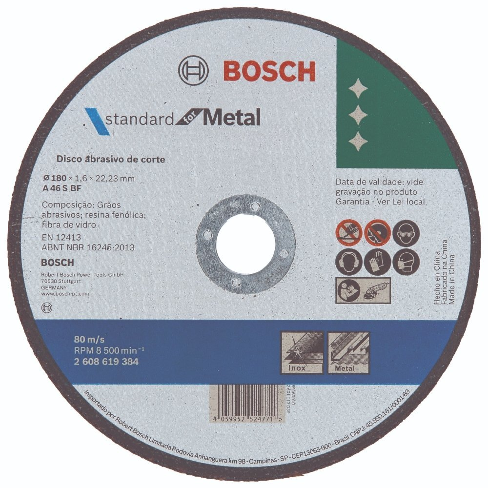 Disco de corte metal 180 x 1,6 x 22,23mm Bosch 2608619384