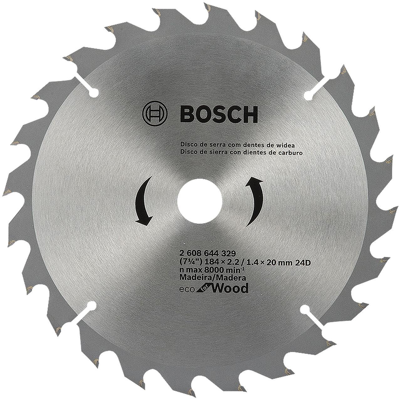 """Disco de serra para madeira 7.1/4"""" 184mm X 20/16 24 dentes Bosch 2608644329"""