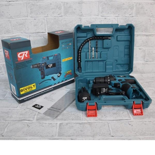 """Furadeira/parafusadeira a bateria 3/8"""" 12v bivolt CR com 1 bateria e carregador"""
