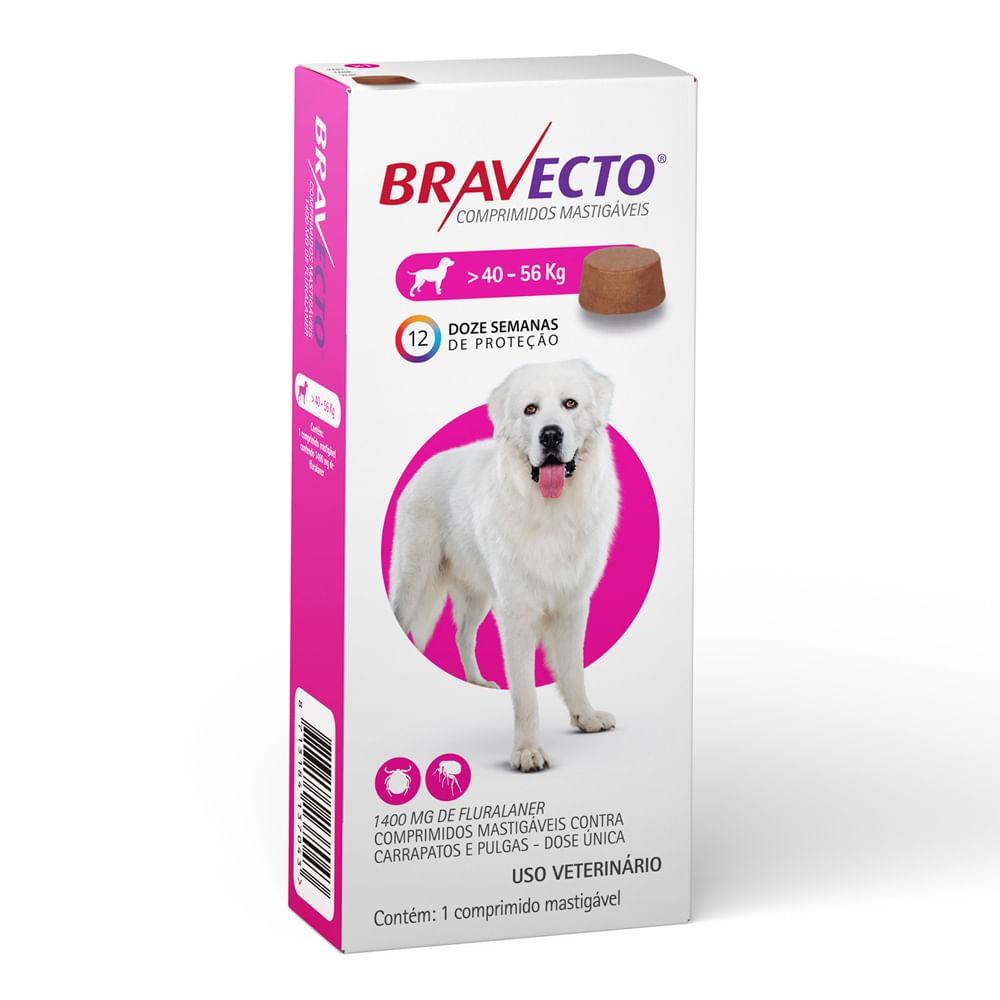 Antipulgas e Carrapatos Bravecto MSD para Cães 40 a 56 kg - 1 comprimido
