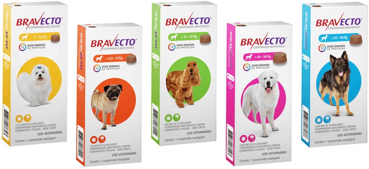 Antipulgas e Carrapatos Bravecto MSD para Cães- 1 comprimido