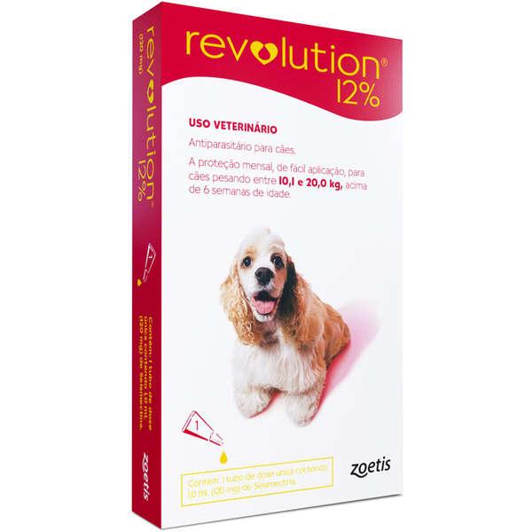Antipulgas e Carrapatos Revolution Zoetis 12% para Cães de 10 a 20 Kg 120 mg - 1 Ampola de 1,0 mL