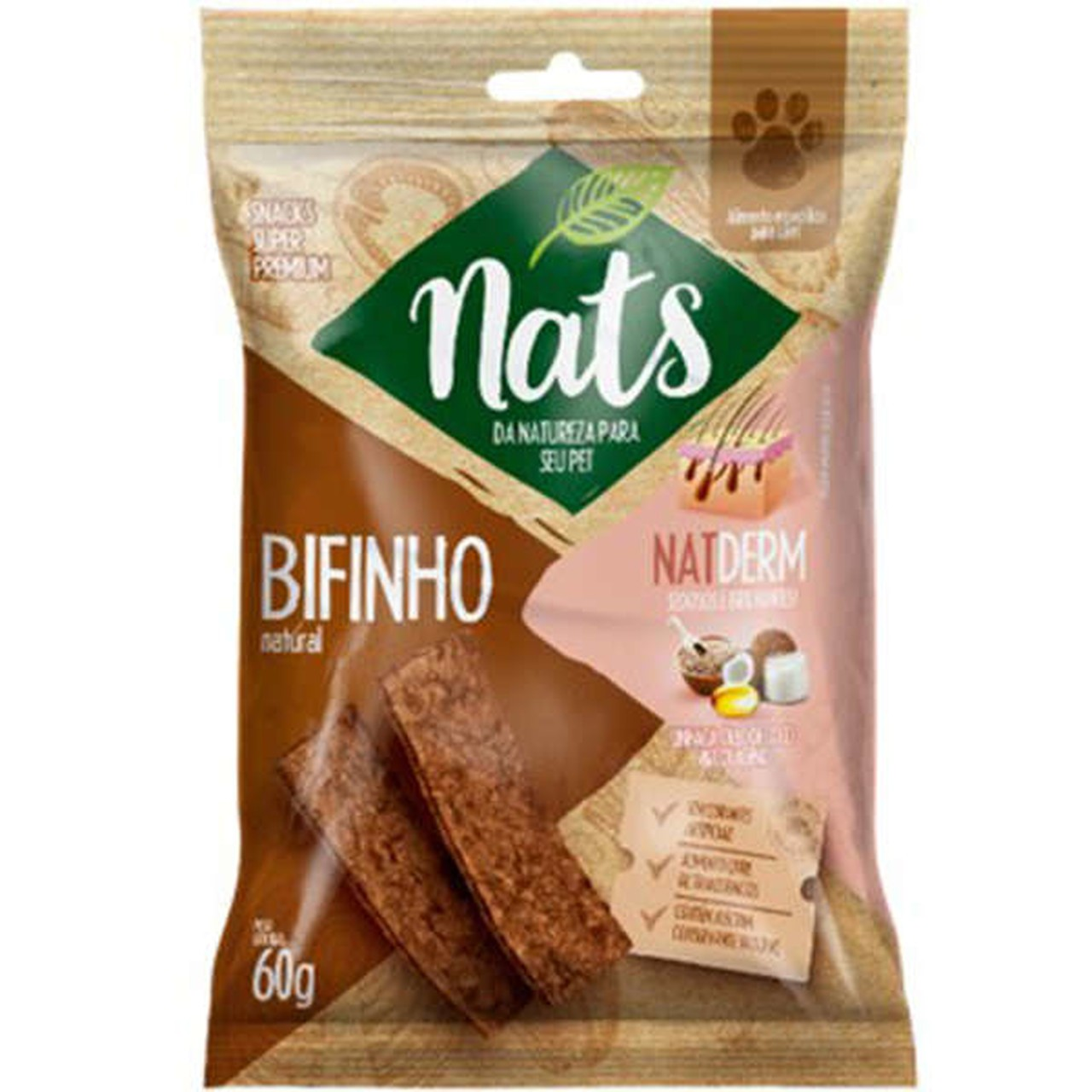 Bifinho Natural Nats NatDerm para Cães 60g