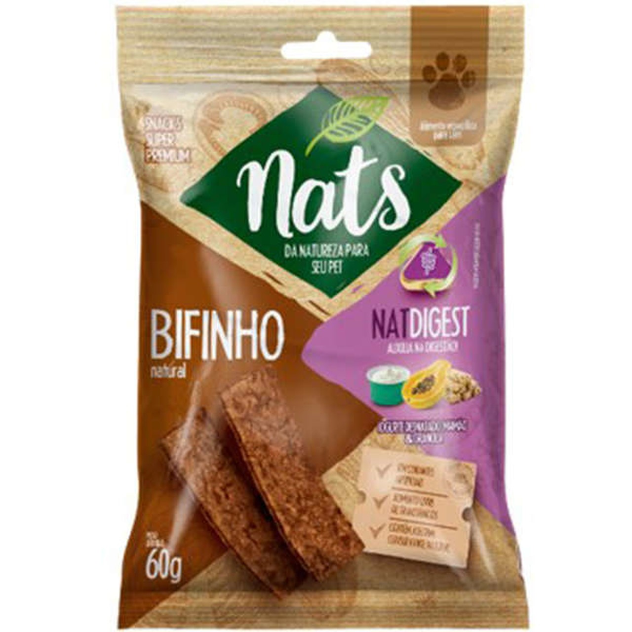 Bifinho Natural Nats NatDigest para Cães 60g