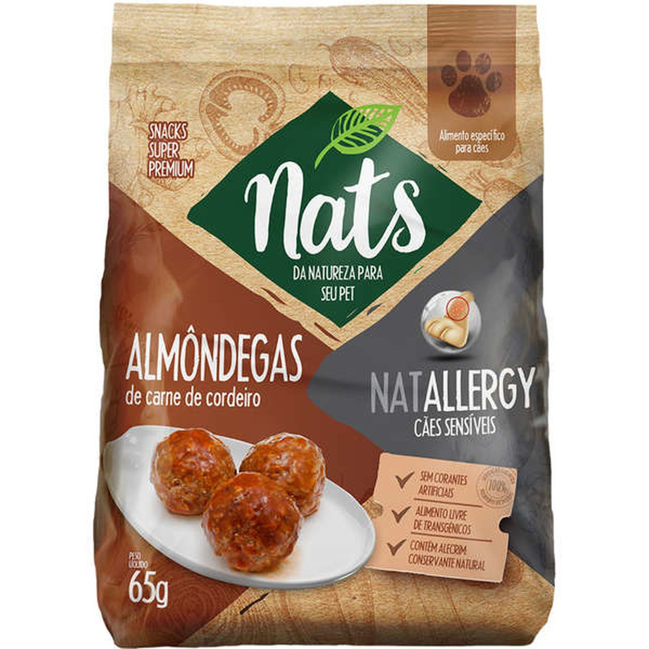 Snacks Super Premium Nats  NatAllergy Almôndegas para Cães Sensíveis 65g