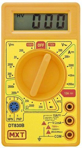 Multímetro Digital DT830B Amarelo para Volts, Amper e Ohmimetro