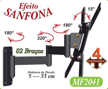 """Suporte Tv Led 4 Movimento Articulado 10"""" a 48"""" Até VESA 200x200 MF2041 Multiforma"""