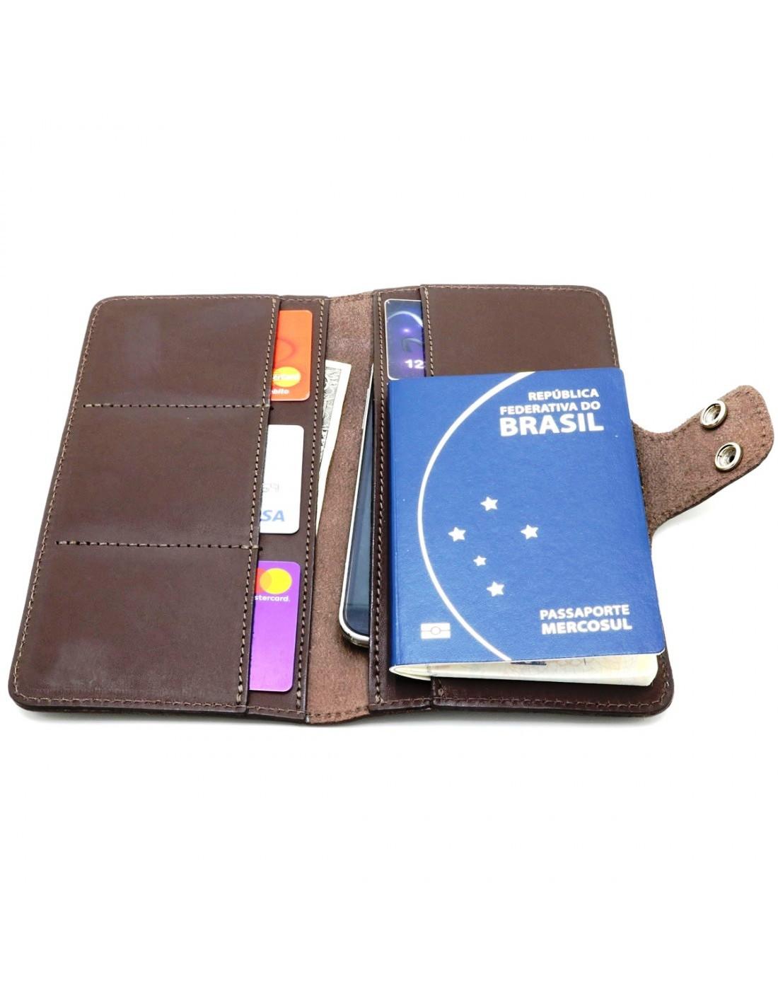 Carteira para Passaporte em Couro